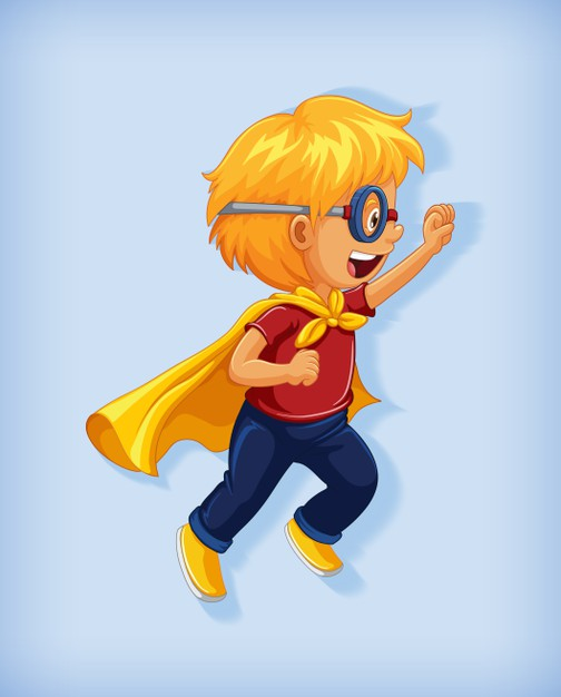 Download Boy Wearing Superhero With Stranglehold In Standing Position Cartoon Character Portrait Isolated for free